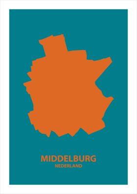 Abstracte stadsposter Middelburg