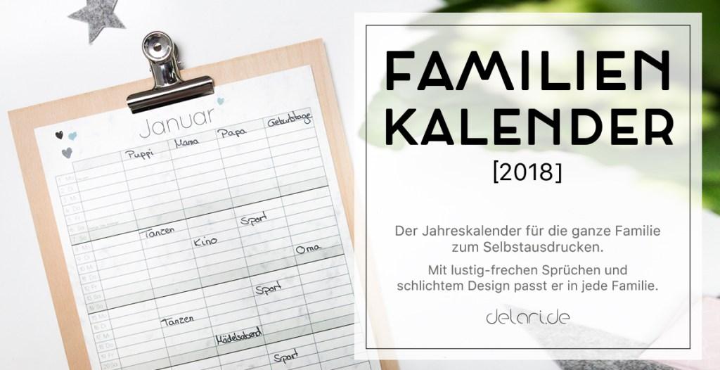 Jahreskalender 2018 Familienkalender DIY Klemmbrett