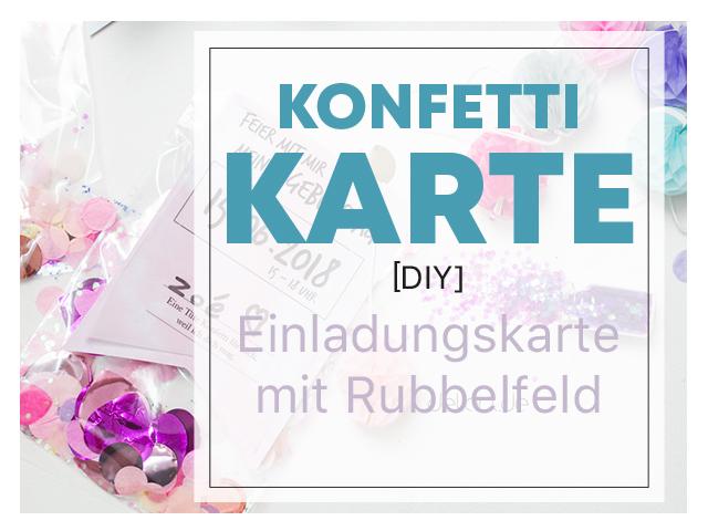 Einladungskarte mit Konfetti und Rubbelfeld zum Kindergeburtstag