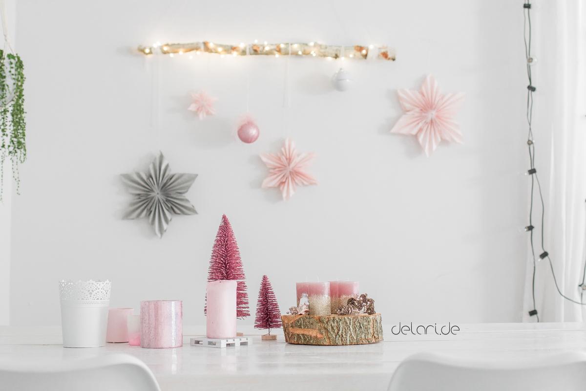Weihnachten natürlich scandinavisch natürlich Birke rosa weiss dekoration