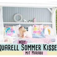 Aquarell Sommer Kissen mit Marabu Textil Farbe