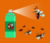 Illustration of mosquitoes getting sprayed by insect repellent