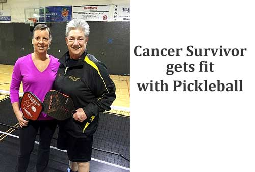 Lynn Casey of Millsboro, left, a breast cancer survivor and pickleball player, stands with Susan Brooker of Delaware Senior Olympics. (Submitted photo)