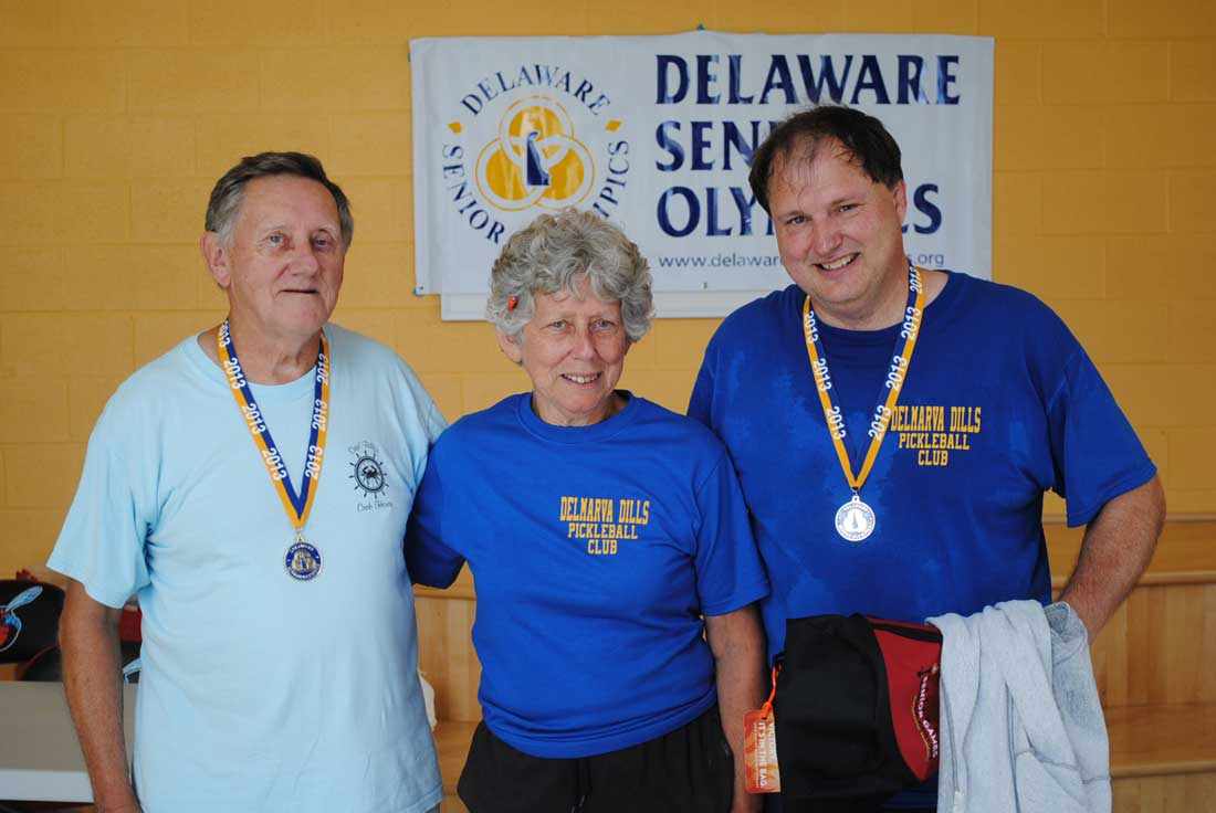 Georgia Billger pictured with her brother (L) and son (R) participating in the DSO Pickleball Tournament.
