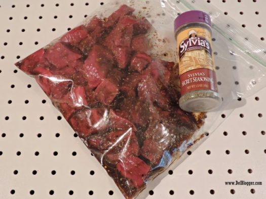 marinated beef cubes
