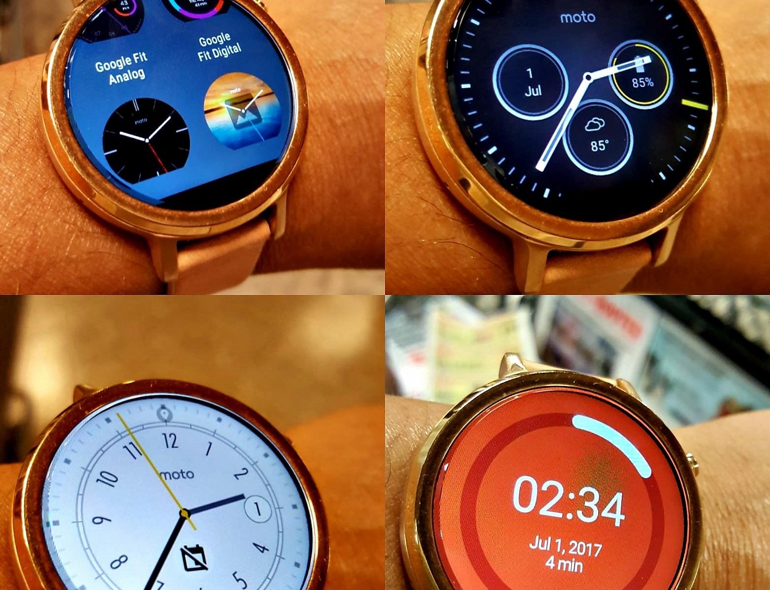 multiple faces of moto360 smartwatch