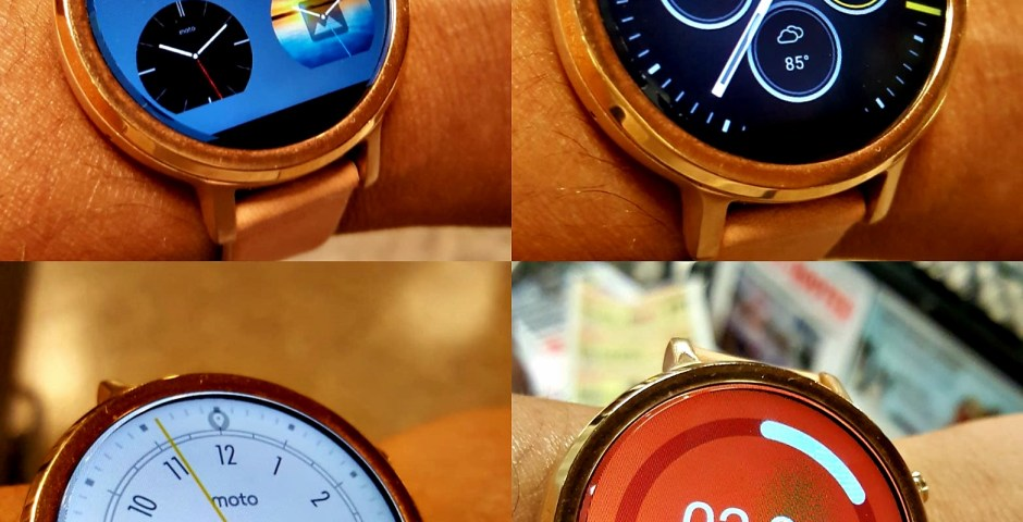 multiple faces of moto360 smartwatch