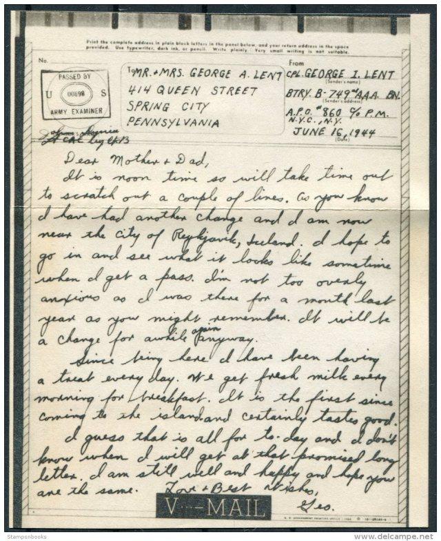 Briefe u. Dokumente - 27 Iceland USA Military APO 27 V-Mail