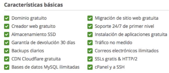 Características del servicio StartUp del hosting Siteground