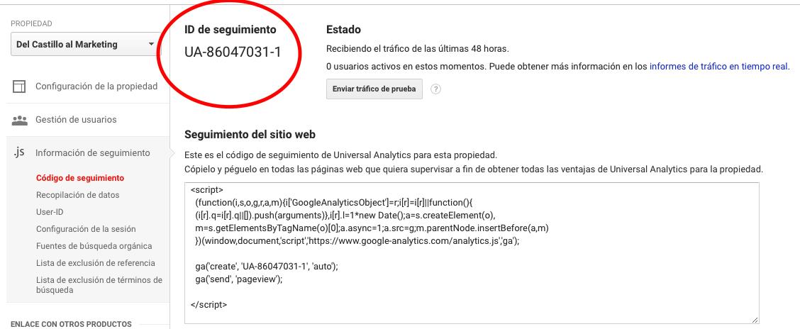ID de seguimiento en Google Analytics