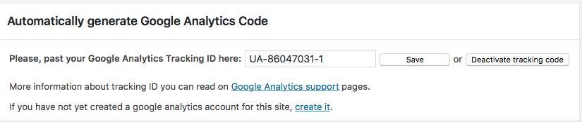 Plugin ID de seguimiento Google Analytics