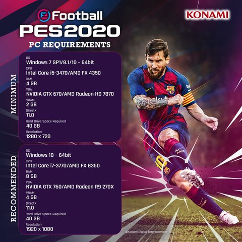 eFootball PES 2020 PC Requirements Specs