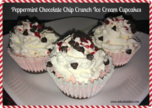 peppermint Chocolate chip crunch ice cream cupcakes