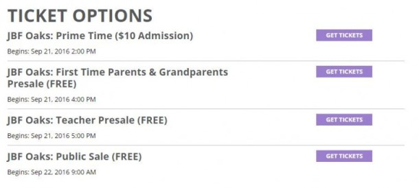 JBF Oaks 2016 Ticket Sale