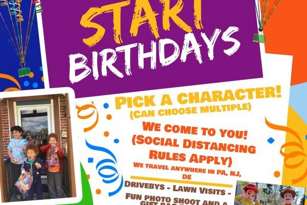 1st Start Birthdays: Surprise Your Birthday Child with a Social-Distant Friendly Character Visit