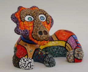 """This is a close up of one of the painted maquettes from Noah's Art Sculpture garden in Jerusalem. 4""""x6""""x2.5"""""""