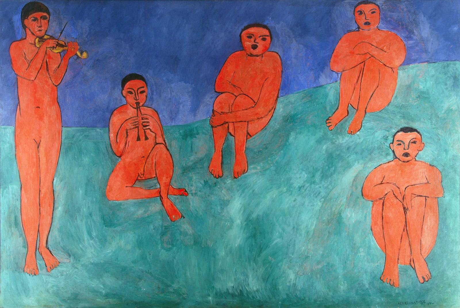 """""""Music"""" (La Musique), oil on canvas (1910) Henri Matisse"""