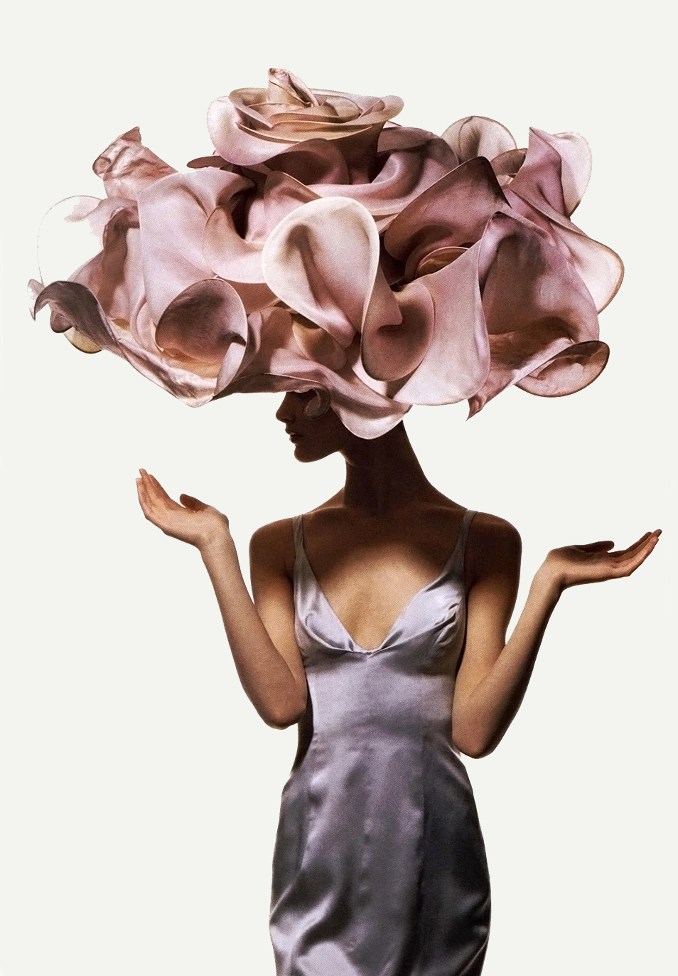 Shalom Harlow in Philip Treacy by Irving Penn for US Vogue (April 1995)