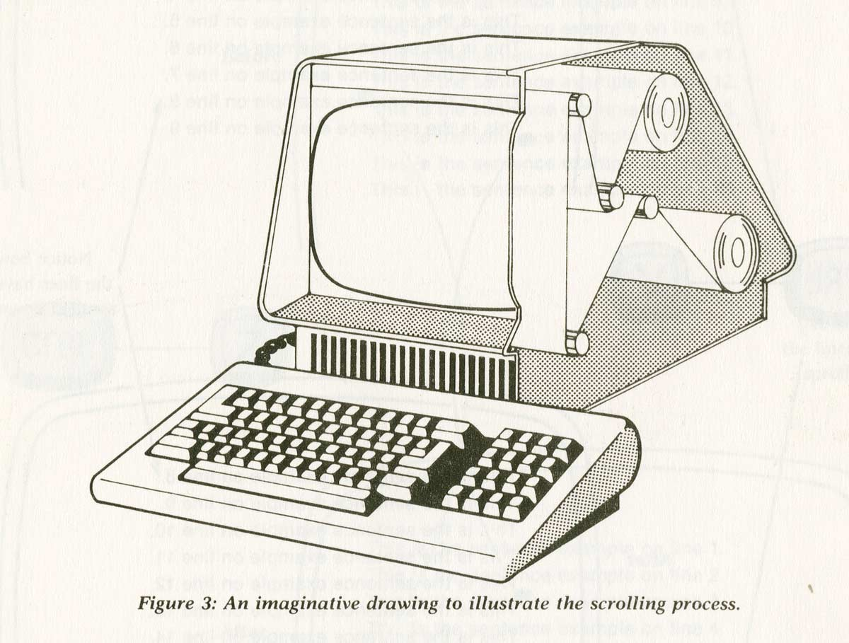 illustration of early word processing manual sought to reassure anxious authors that their prose was still there, even after it had scrolled off the edge of the screen source: PerfectWriter, Author provided