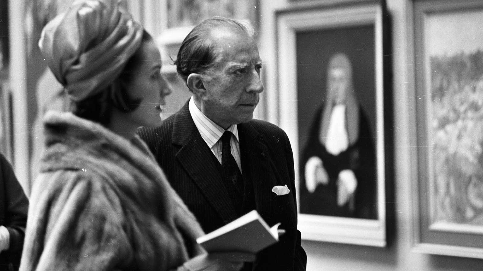 American oil executive, multi-millionaire art collector John Paul Getty attends a private viewing of the Royal Academy Summer Exhibition in London, April 1965. Photo by McKeown/Express/Getty Erin Thompson