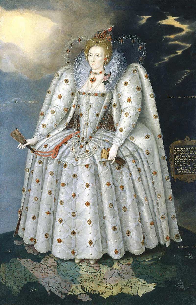 Elizabeth I, The Ditchley Portrait, c. 1592, National Portrait Gallery. Elizabeth stands upon England, and the top of the world itself. Her power and domination are symbolised by the celestial sphere hanging from her left ear. The copious pearls represent her virginity and thus maleness   source: Wikimedia Commons