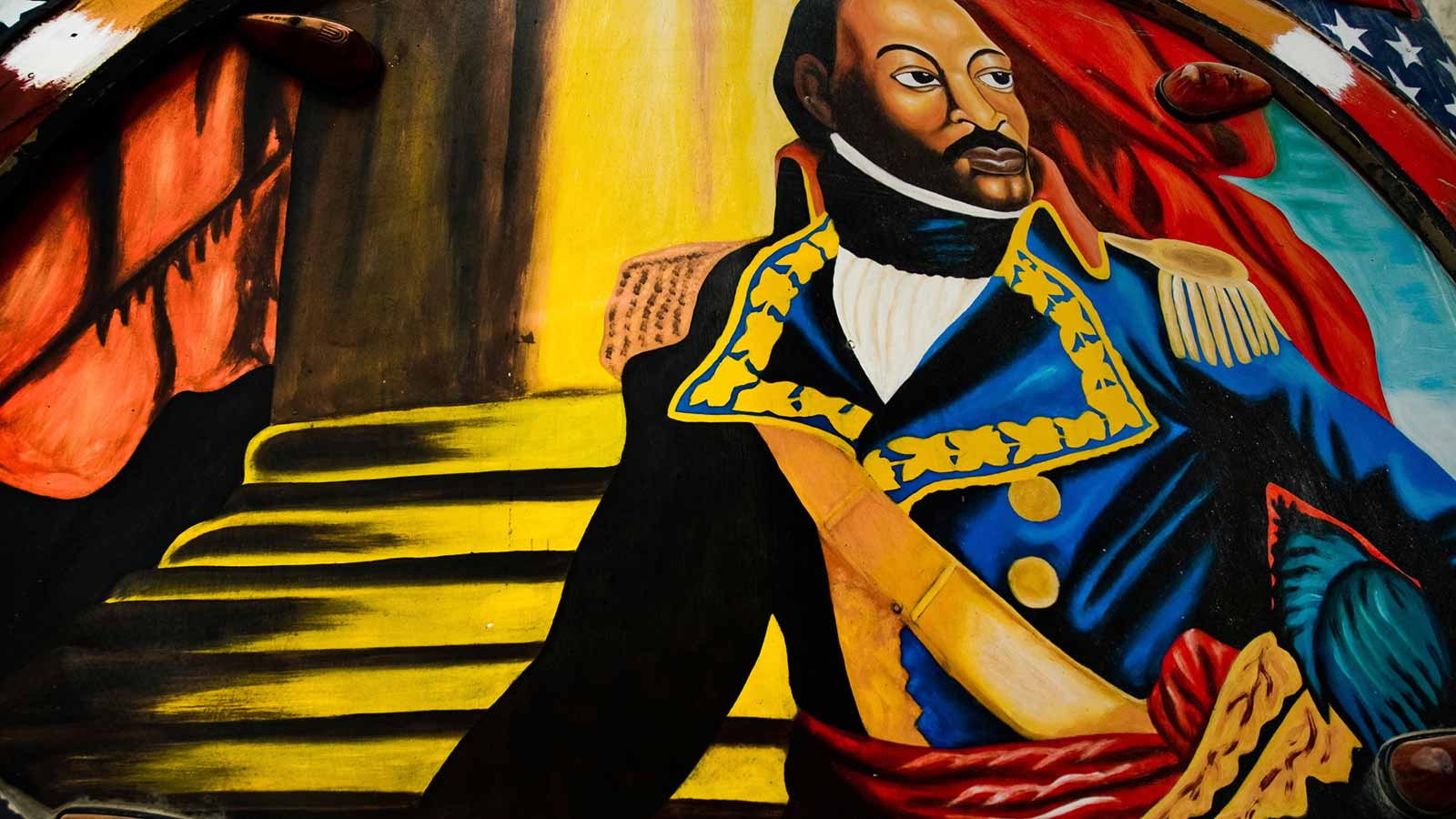 The Haitian Revolutionary leader Toussaint L'Ouverture painted on the body of a bus operating in Port-au-Prince, July 2008. Photo by Jan Sochor/Latincontent/Getty Images