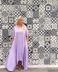The mosaic tile wall happened to be the perfect backdrop for this dress.