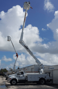 Electrician With Bucket Truck