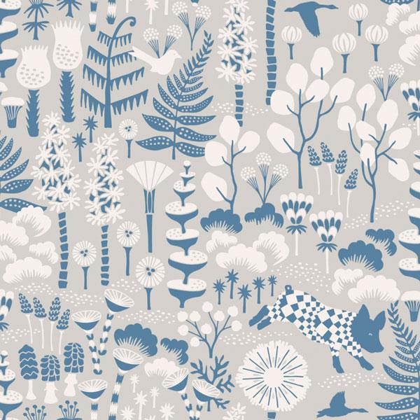 Papel pintado Hoppmosse en fondo topo de la colección Wonderland de Borastapeter