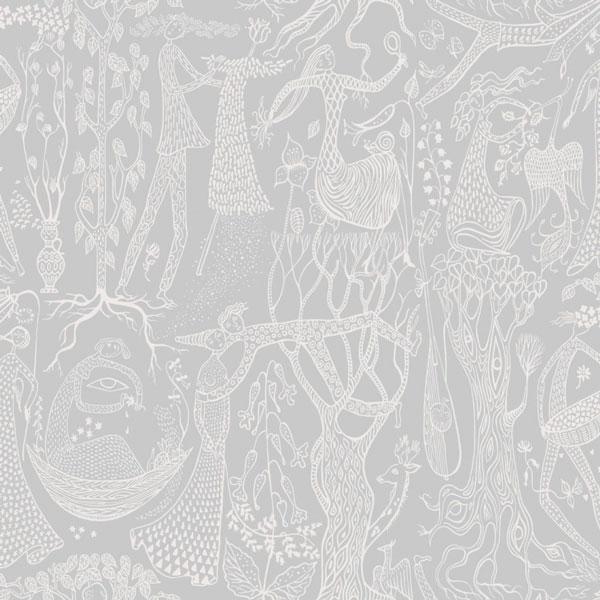 Papel pintado Poeme d´Amour en fondo gris de la colección Scandinavian Designers II de Borastapeter