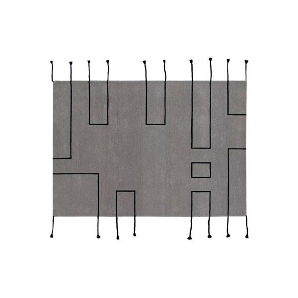 Alfombra de lana gris Nordic Lines de Lorena Canals