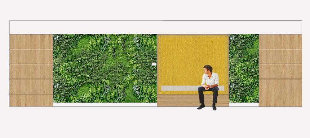 diseño de una sala de espera para unas oficinas
