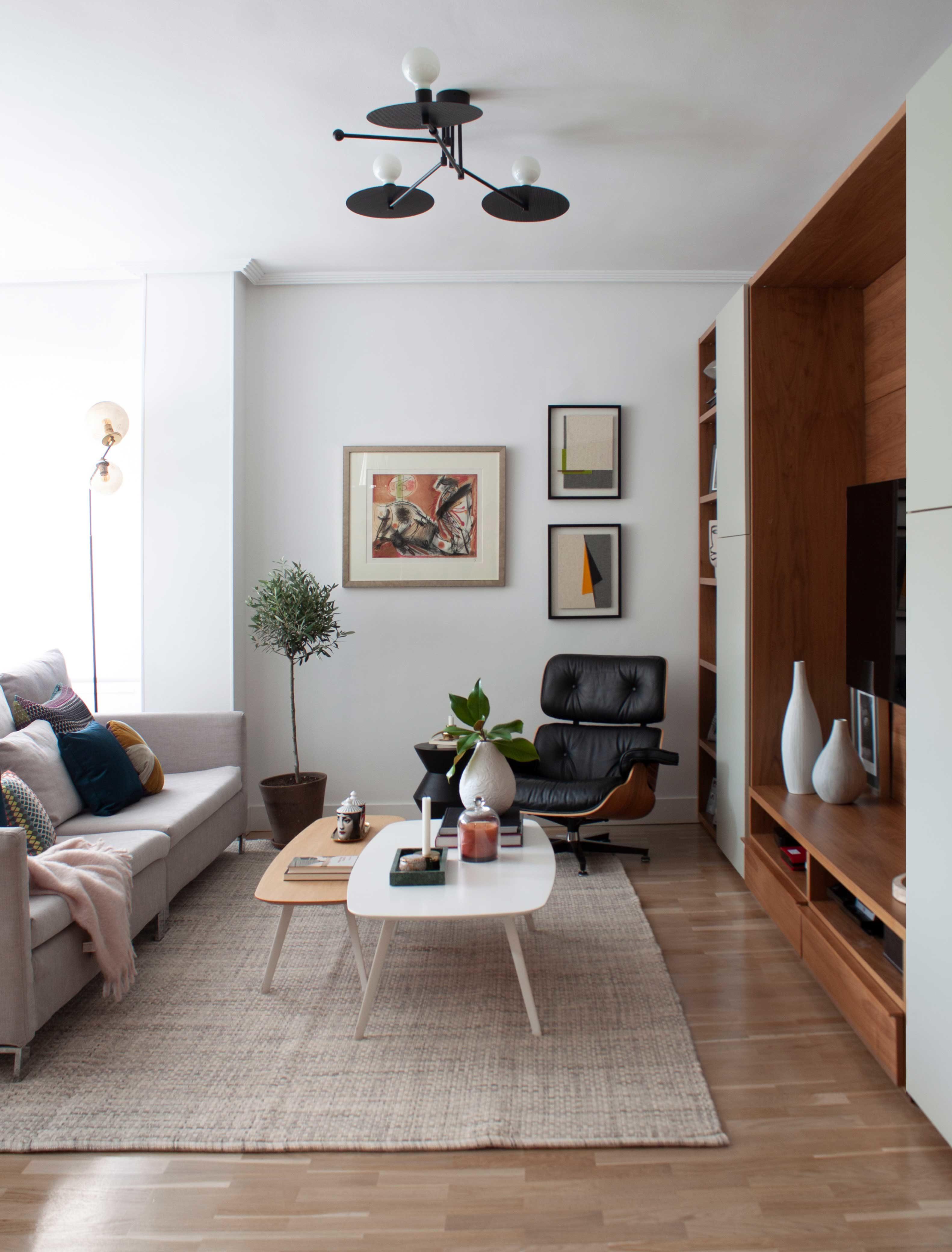 zona de televisión de un salón decorado por Deleite Design