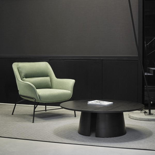 mesa de centro circular de madera negra