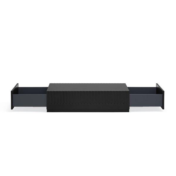 cajones abiertos mesa de centro Doric de Teulat en acabado negro