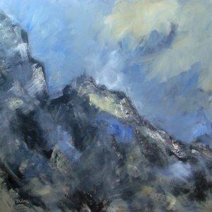Menace sur la montagne (les Grandes Jorasses)- huile sur toile - 100x100cm