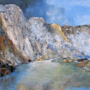 Le lac Moraine (Canada) - huile sur toile - 150x150cm - collection particulière