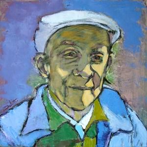 Roger sur le banc - oil on canvas - 50x50cm - collection particulière