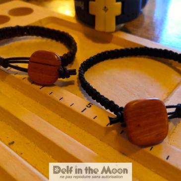 Bracelet macramé cuir et bois
