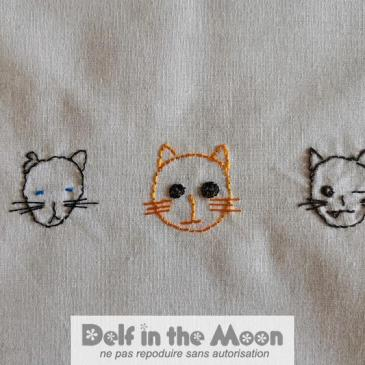 Broderie les 5 chattes