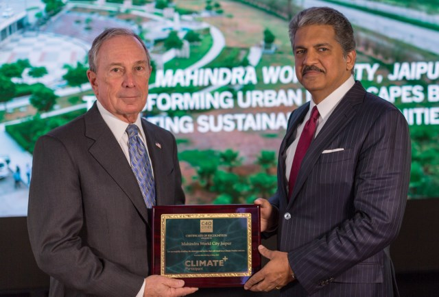michael-bloomberg-c40-board-president  with-anand-mahindra- chairman-mahindra-group