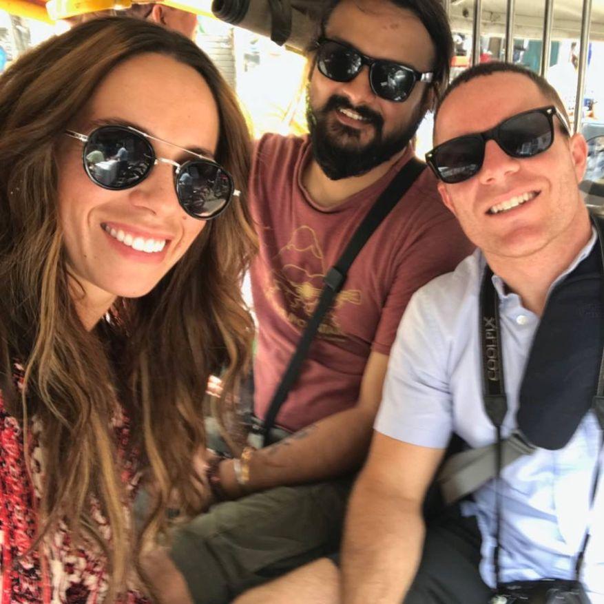 Selfie inside an electric rickshaw
