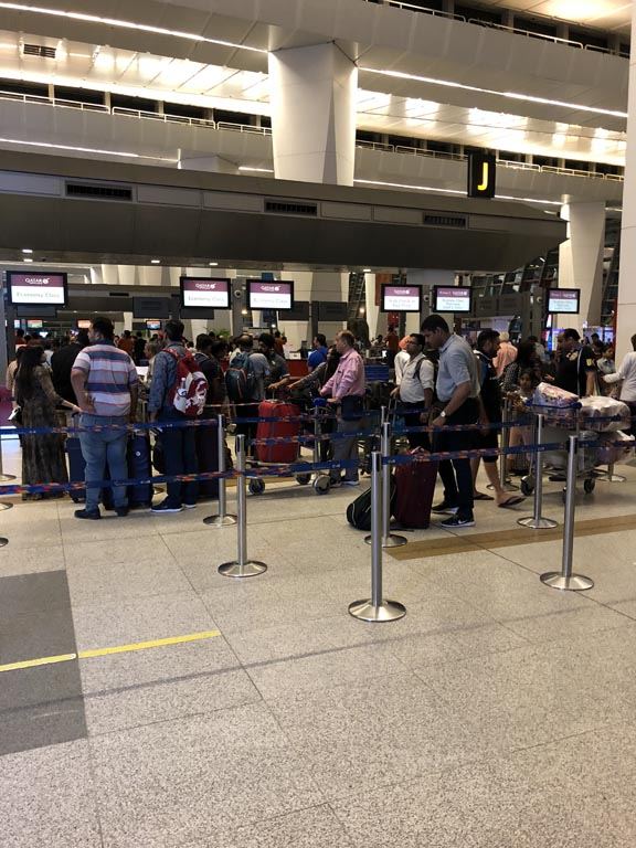 Delhi Airport Check-in Counter line up