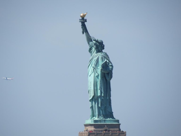 Statue of liberty and a plane
