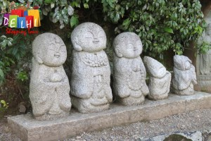Little buddha statues by the roadside in Kyoto