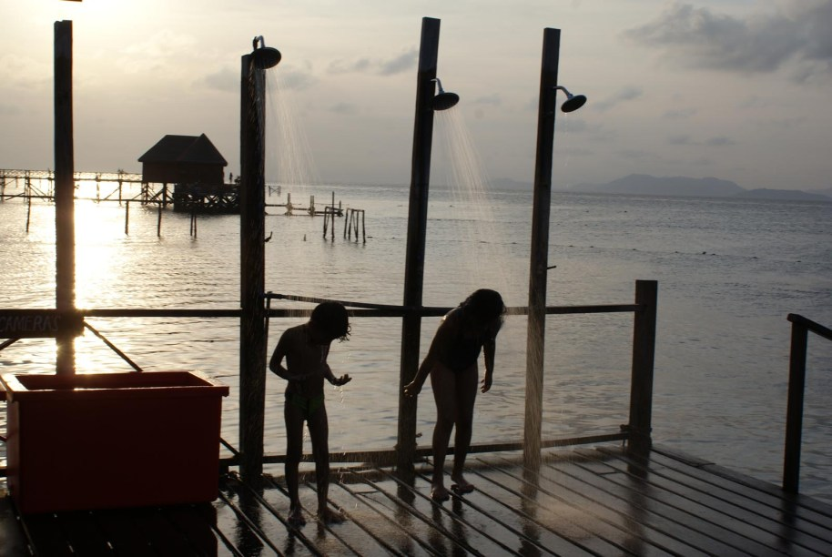 Showers on the jetty in Mabul