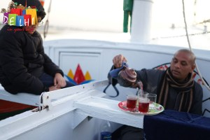 Hot tea on the boat