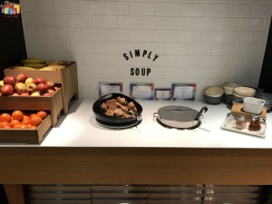 Soup and fruits at BA first lounge at Heathrow Terminal 3