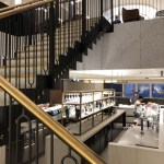 Staircase to the bar at Qantas Lounge heathrow terminal 3