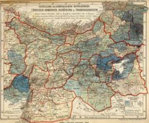 Verteilung der Armenischen bewölkerung. Türkisch-Armenien, Kurdistan und Transkaukasien